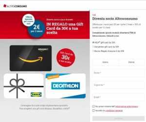 Con Altroconsumo ricevi una Gift Card da 30€ in regalo